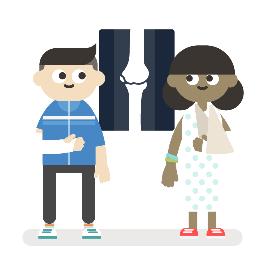 the science trial animation image - boy in a cast and girl in a sling